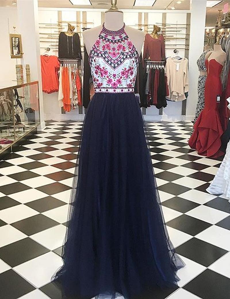 Navy Blue Prom Dress,A-Line Prom Dresses,Halter Prom Dress ...