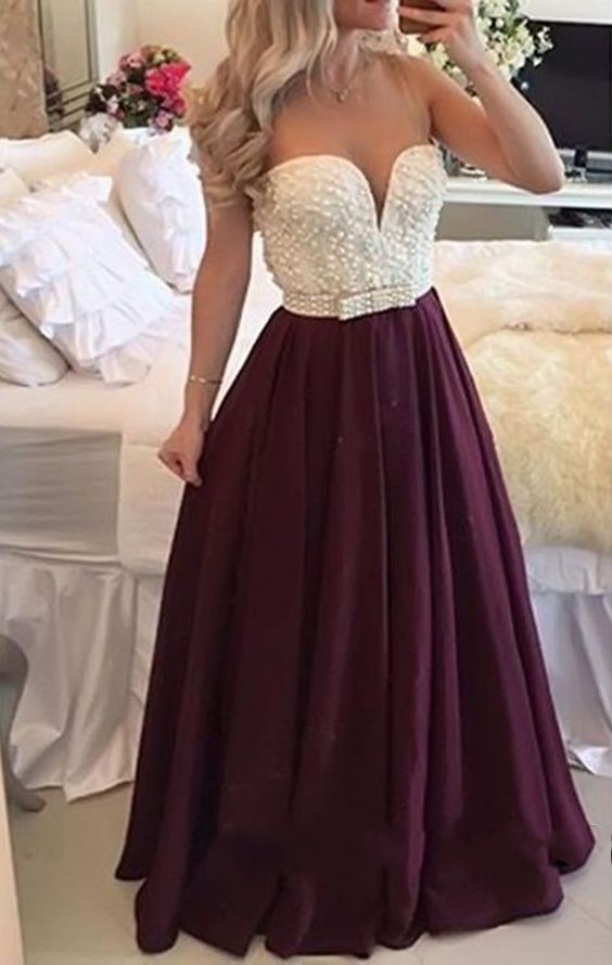 Burgundy Prom Dress Long Plus Size Prom Dress With Pearls