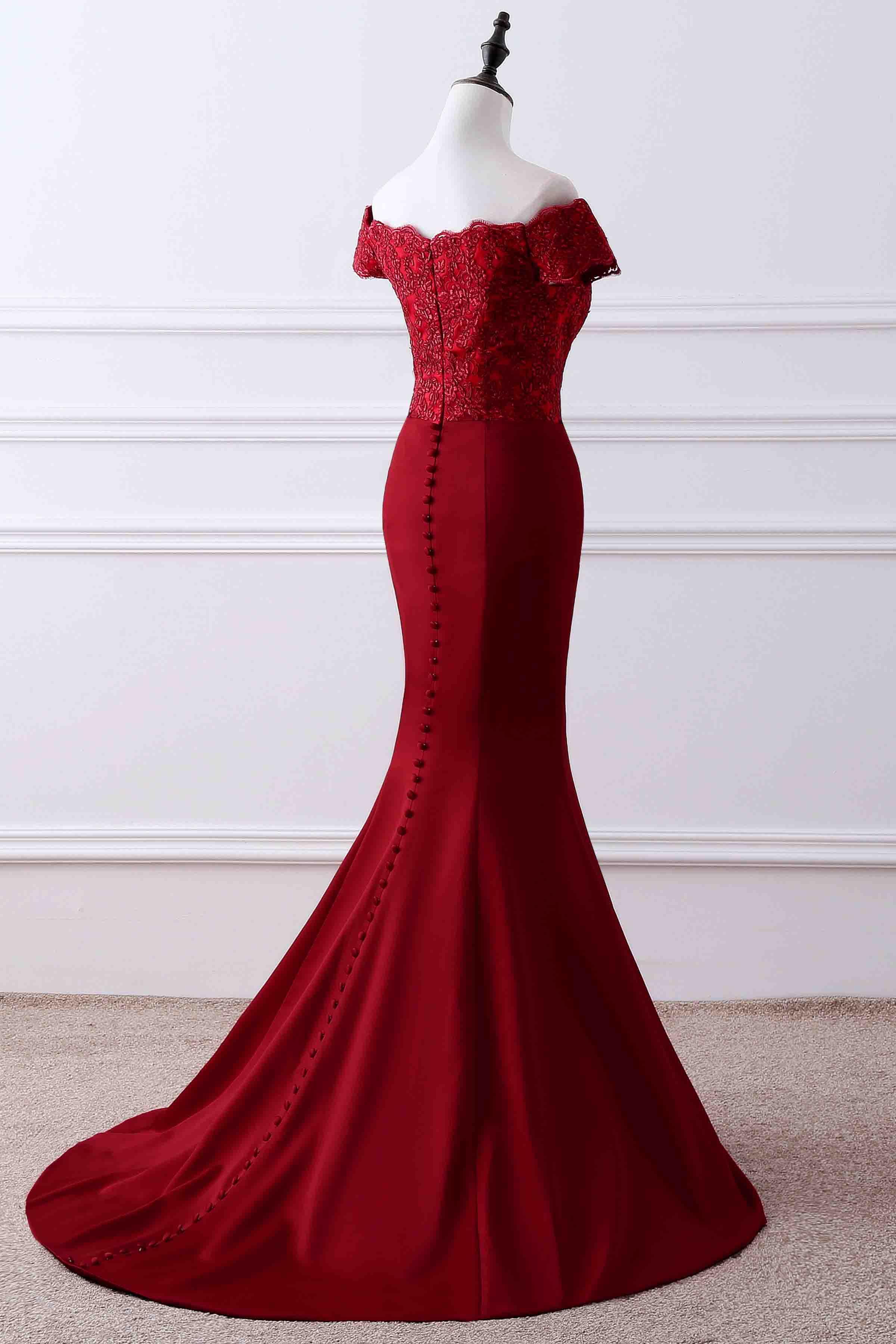 Red Satins Lace Off Shoulder Mermaid Long Prom Dressformal Dresses