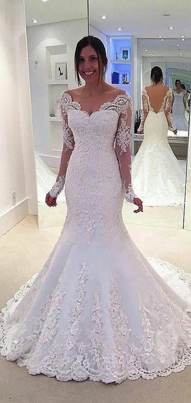 2017 wedding dress, white wedding dress, long sleeves wedding dress ...