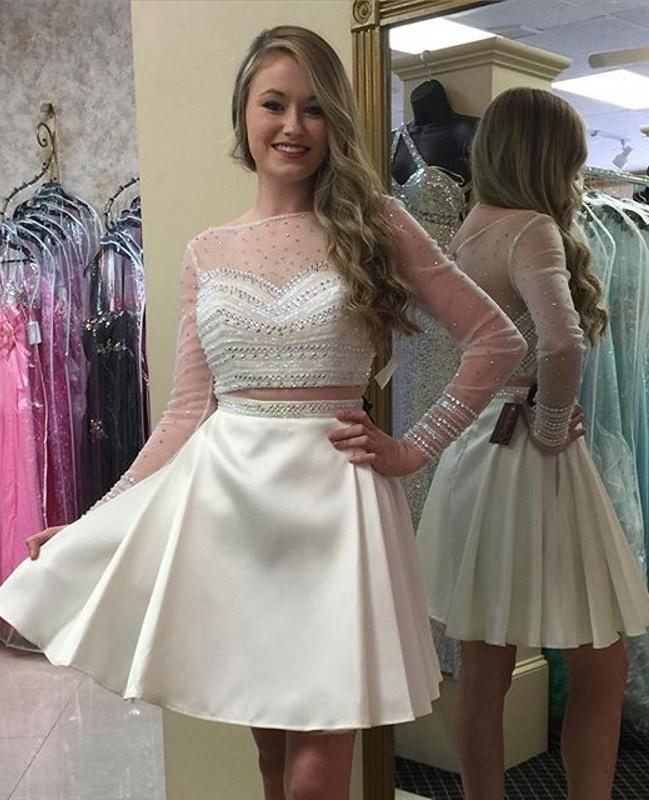Prom Dress,Homecoming Dresses, 2 Piece Prom Dress,Long Sleeve Prom ...
