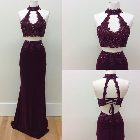 New arrival two piece high neck burgundy long prom dress for Double sided tape for wedding dress