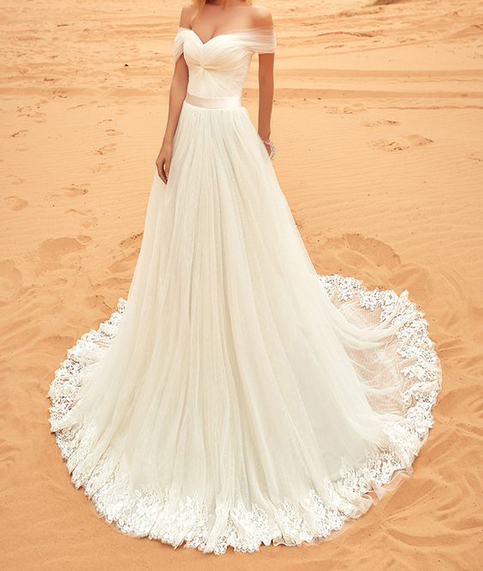 Off the shoulder ivory tulle beach wedding dress for Best stores for dresses for weddings