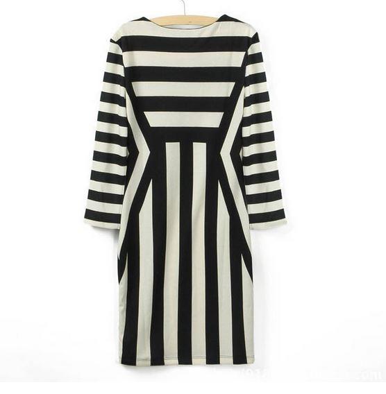 Cheap Versatile Half Sleeve Slim Striped Monochrome Bodycon Dress ...