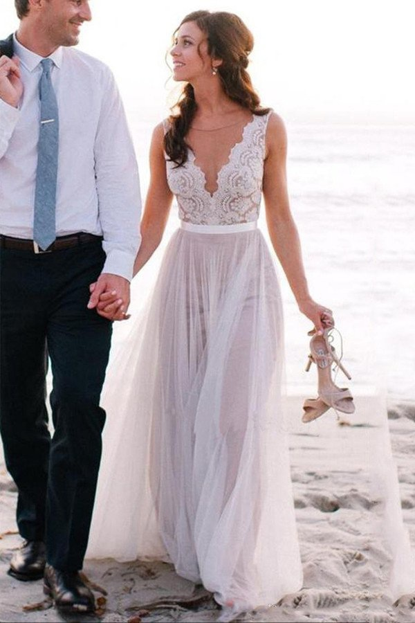 Elegant Beach Wedding Dress,Lace Coast Bridal Gowns,A Line Tulle ...