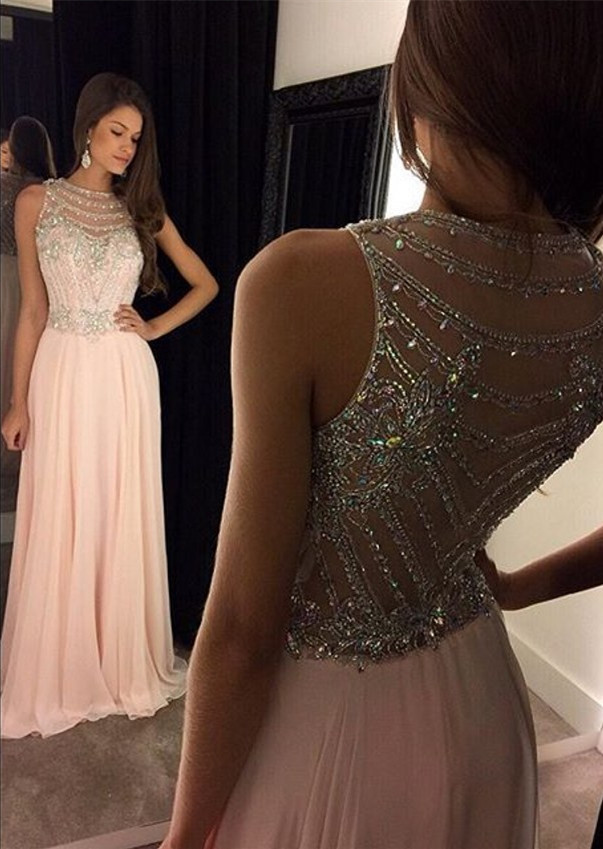 Sleeveless Jewel beading A-line light pink prom dresses,MB 291 · Ms ...