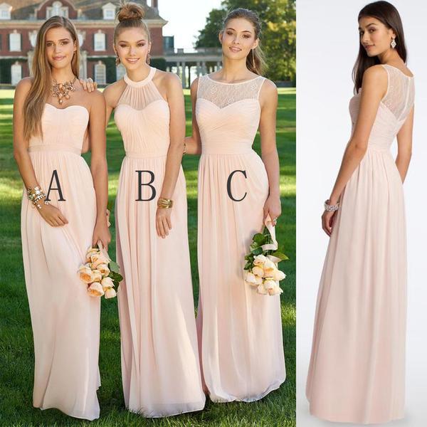 Chiffon Blush Pink Modern Formal FloorLength Cheap Bridesmaid