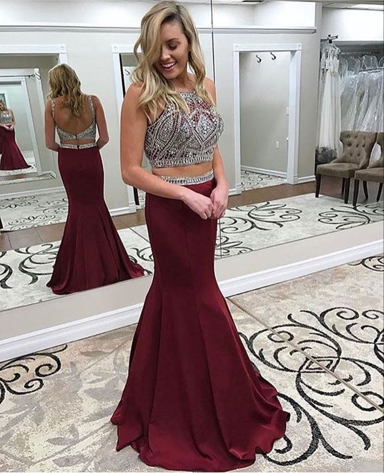 Two Pieces Prom Dresses,Beading Prom Dress,Burgundy Prom Dresses ...
