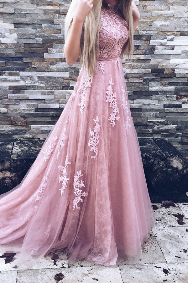 XP159 Cute Pink Round Neckline Tulle and Lace Long Gowns, Pink Party ...