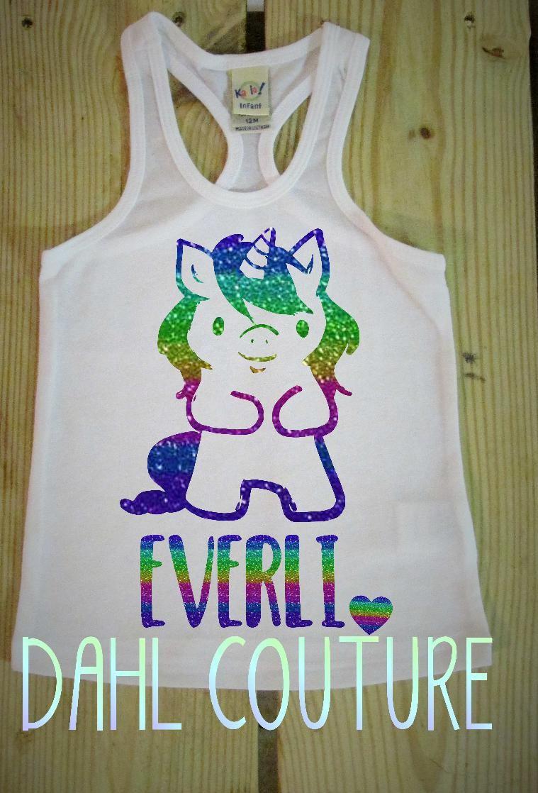 Unicorn Rainbow Glitter Birthday Shirt Custom Baby Girls