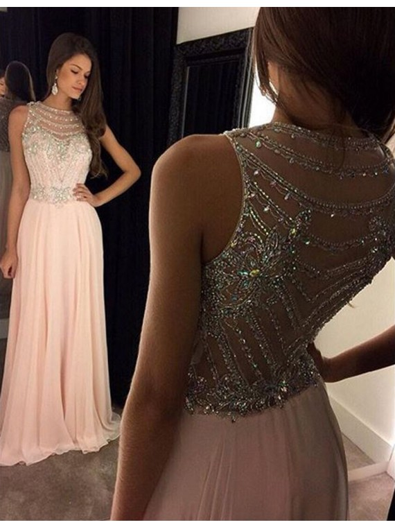 Baby Pink Prom Dress with Top Beading, Prom Dresses,Graduation Party ...