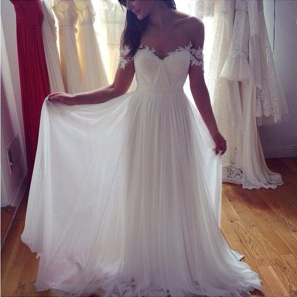 Summer Beach Wedding Dresses Off-the-Shoulder Ruched Chiffon A-line ...