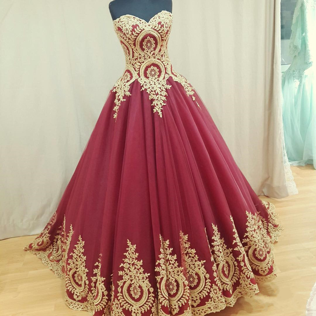 Wine Red Wedding Dress,Burgundy Wedding Gowns,Ball Gown Wedding ...
