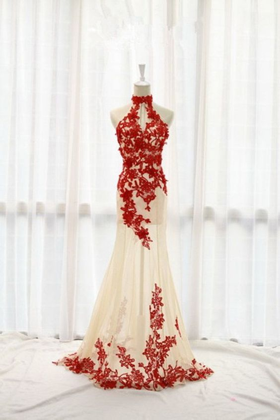 F131 Custom Made High Neck Evening Gowns, Red Lace Prom Gowns, Real ...