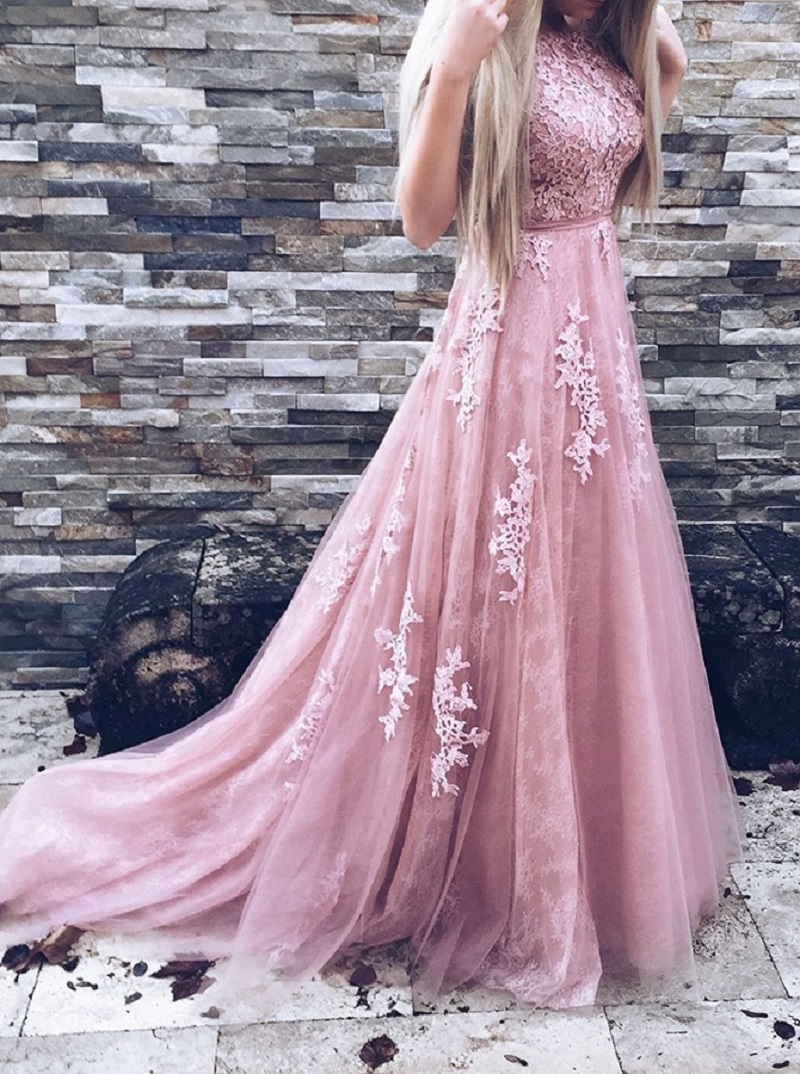 A-Line Prom Dress Tulle Prom Dress Pink Prom Dress Backless Prom ...