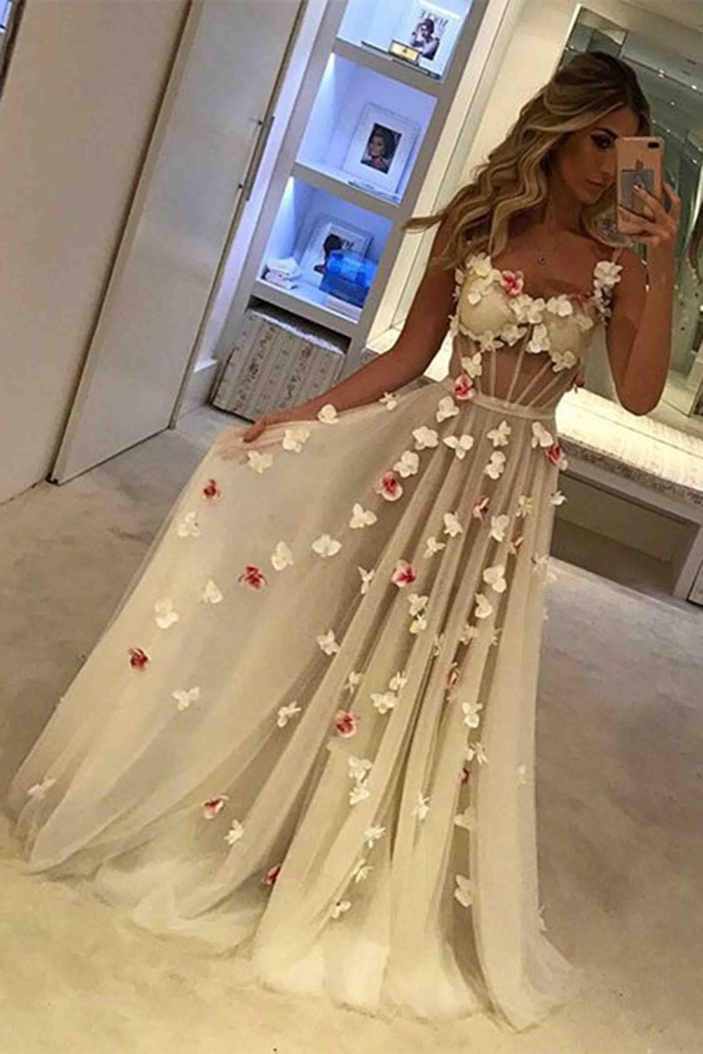 Unique Tulle White Long Prom Dress White Formal Dress Qpromdress