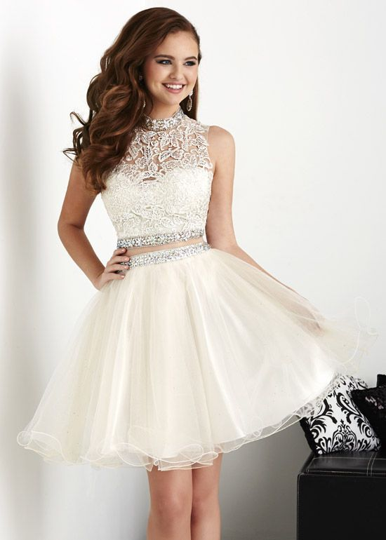 White Homecoming Dresses Ball Gowns Short 2 pieces Prom Dress ...