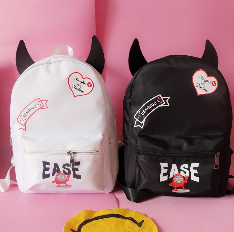 Harajuku Vintage Cute Demon Backpack Funny Canvas ...