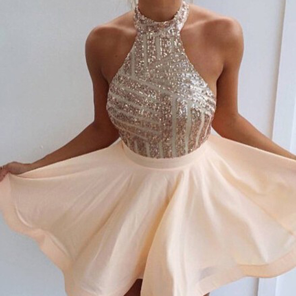 Rose Gold Prom Silvers: Halter Rose Gold Short Backless Homecoming Dress