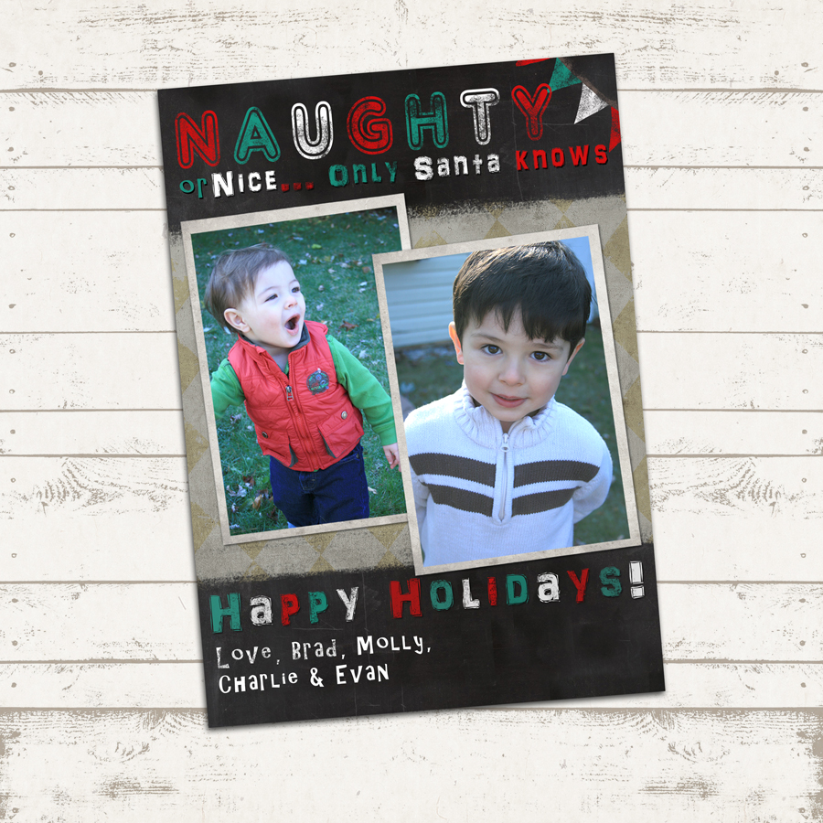custom christmas photo card 7x5 printable christmas naughty or nice only santa knows loading zoom