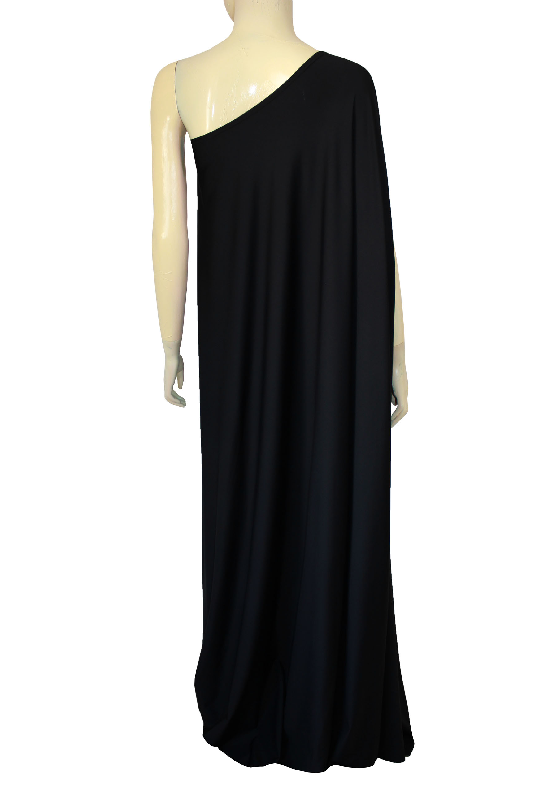 Plus size dress black long formal gown one shoulder maxi dress ...