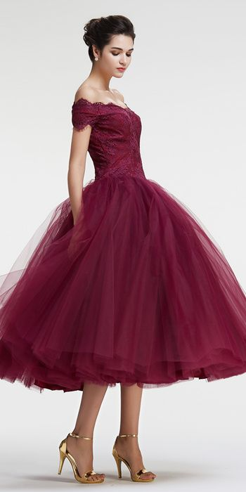Tea Length Ball Gown Off Shoulder Sleeves Burgundy Tulle