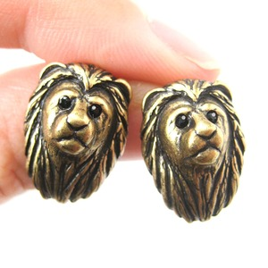 Realistic Lion with Mane Cat Shaped Stud Earrings in Brass