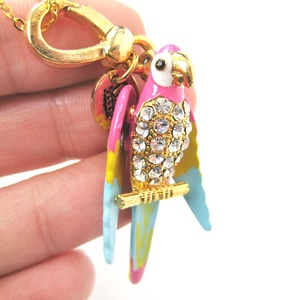 Limited Edition Handmade: Colorful Parrot Bird Enamel Pendant Necklace