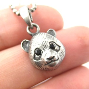 SALE - Baby Panda Teddy Bear Animal Charm Necklace in Silver