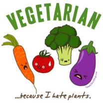 Ladies' T-Shirt - Kawaii Vegetarian - Scared Vegetables