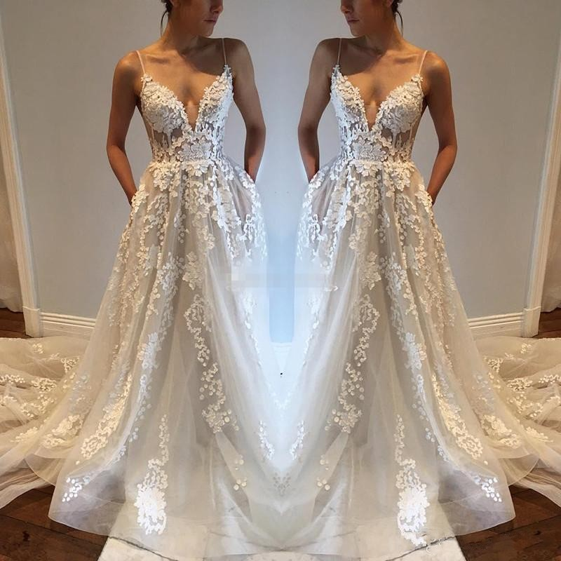 2018 Spaghettis Straps Wedding Dresses V-Neck with Pockets ...