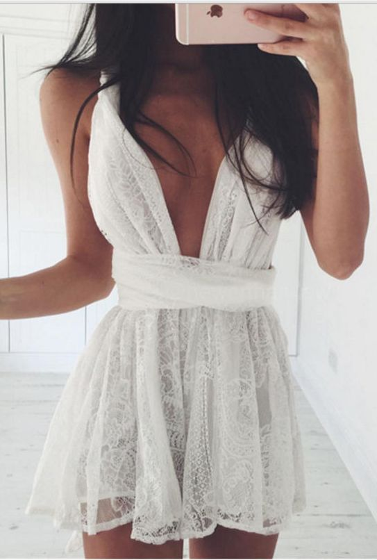 6700362450f Backless Spaghetti Strap White Lace Back Cross V-neck Short Dress ...