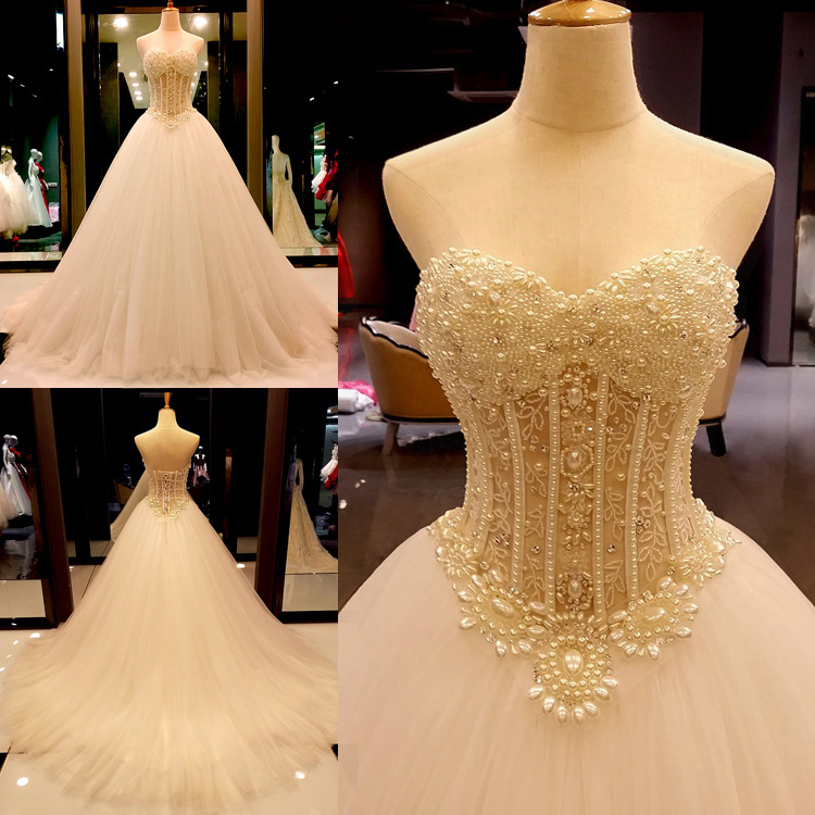 Online Princess Wedding Dress with Pearls,Dresses For Brides,Bridal ...
