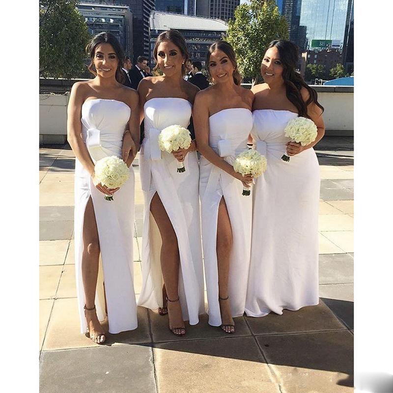 2017 New Cheap White Sheath Long Bridesmaid Dresses Side Split ...