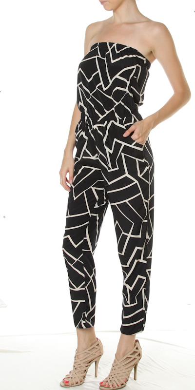 Geometric Print Two Tone Tube Top Jumpsuit 183 Sophisticates Closet 183 Online Store Powered By Storenvy