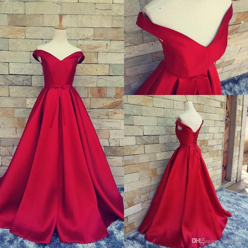 Charming Red Prom Dress,Off Shoulder Long Formal Dress,Elegant Prom ...