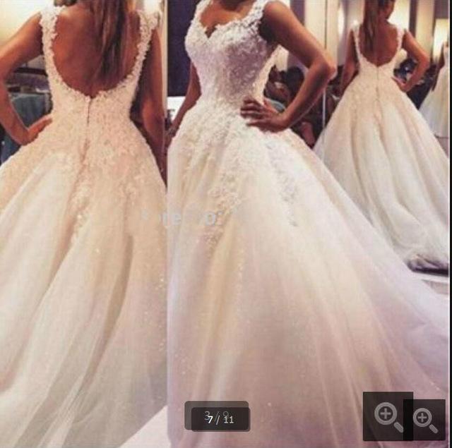 Charming Appliques Tulle Wedding Dress,Elegant Wedding Dresses,Ball ...