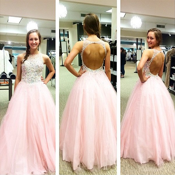 Charming Beading Prom Dress,Pink Puffy Ball Gown Prom Dresses,Open ...