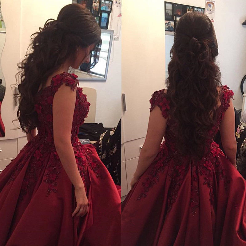 Maroon Wedding Gowns,Burgundy Evening Dresses,Lace Off Shoulder Prom ...