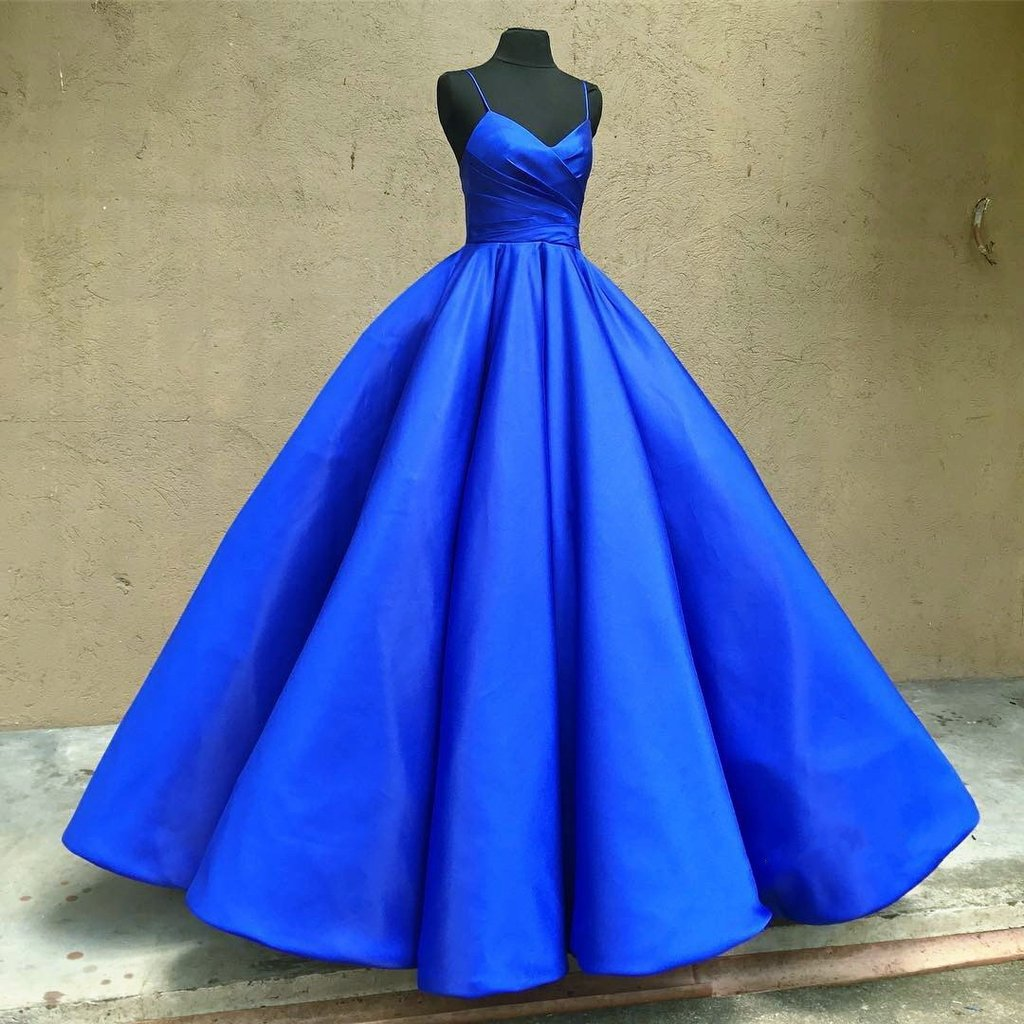 Spaghetti Straps V Neck Royal Blue Wedding Dressesball GownJD 132