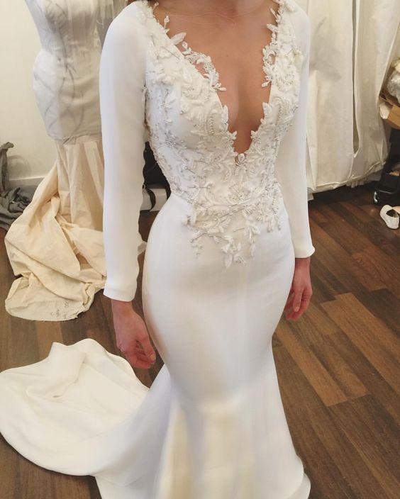 Rustic Wedding Dress with long sleeves lace Appliques Unique mermaid ...