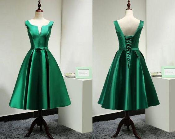 Modest Satin Emerald Green Bridesmaid Dress Short Custom/Elegant Tea ...
