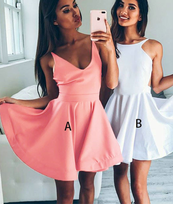 Cheap homecoming dresses ,Cute A-Line V-Neck Pink/White Short ...