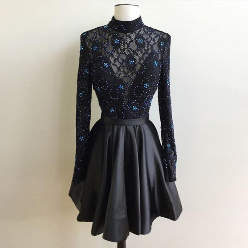 Black Homecoming Dress Beaded Homecoming Dress Long Sleeve