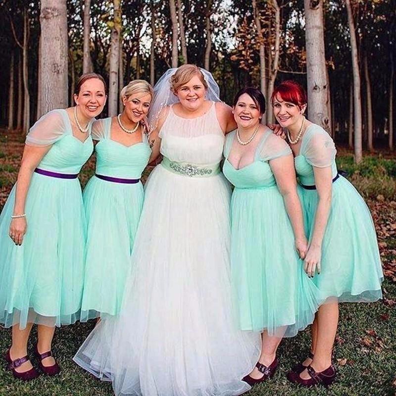Plus size Mint Green Bridesmaid Dresses Hot Sale A line Tea Length ...
