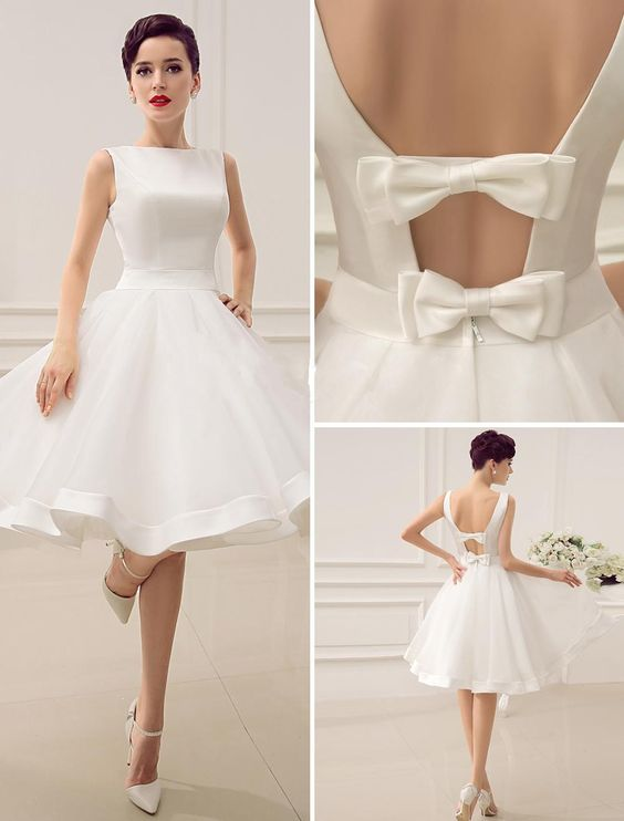 U0042,Short , Deep V ,Back Little, Bridal Dresses with Bow Summer ...