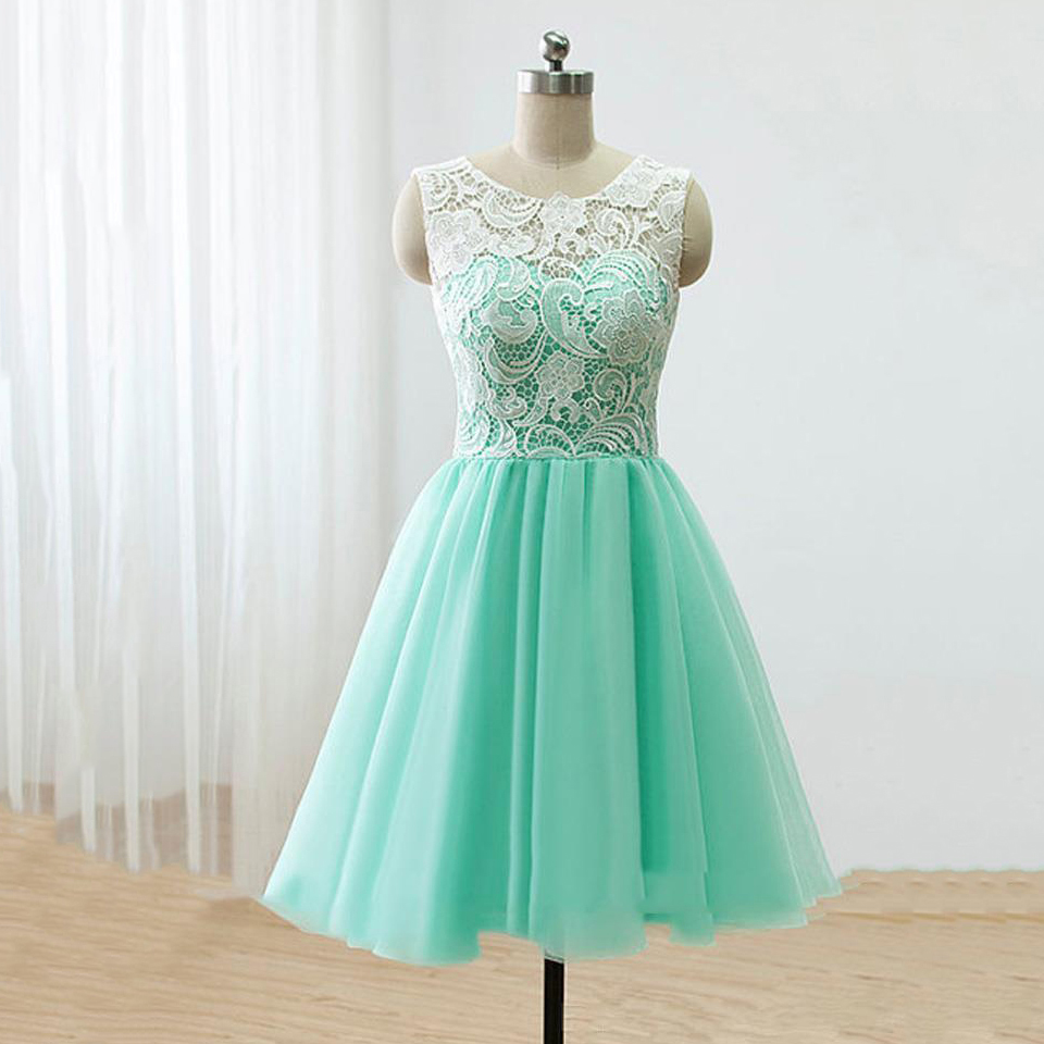Green Prom Dresses, Modest Scoop Neck Short Homecoming Dresses ...