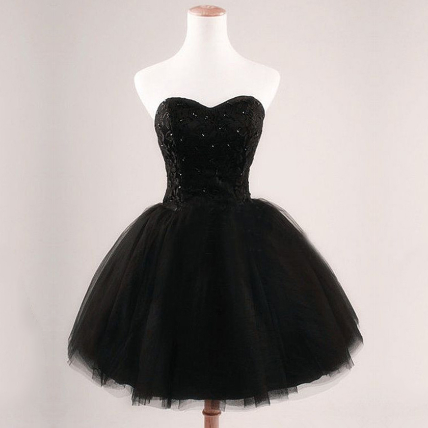 Simple Black Homecoming Dresses, Sweetheart Prom Ball Gowns, Tulle ...
