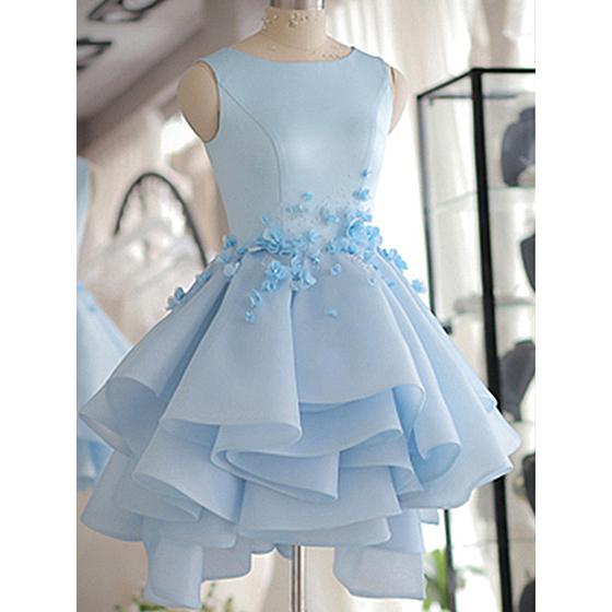 Blue Homecoming Dresses, Scoop Neck Satin Tulle Short Prom Dresses ...