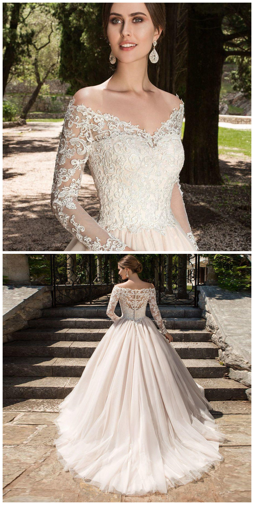Sexy V Neck Wedding Dresses Long Sleeves Wedding Dress Country - Vintage Wedding Dresses